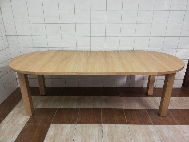 stół okrągły rozkładany dębowy śr 100 cm + 3 wkładki salon jadalnia