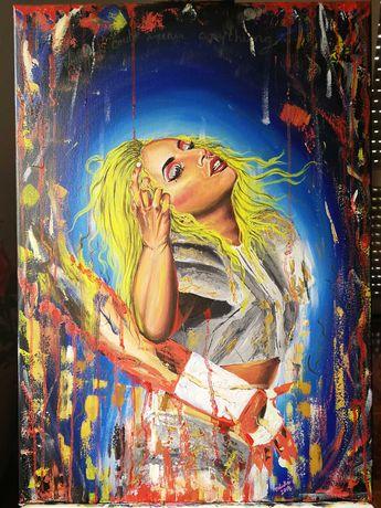 Pintura Lady Gaga no Super Bowl, óleo sobre tela