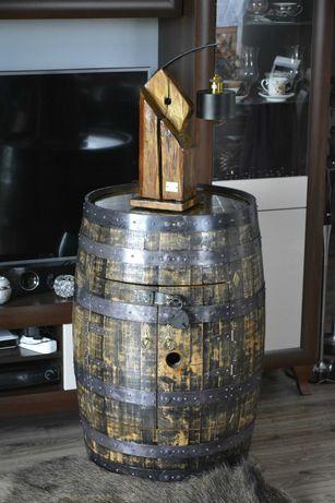 Zestaw barek z beczki po whisky + stylowa lampa Bieniasz Barrels