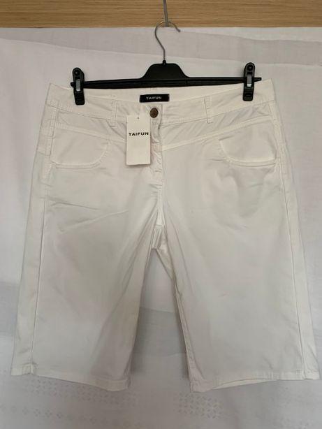Białe NOWE krótkie spodenki do kolan TAIFUN 42