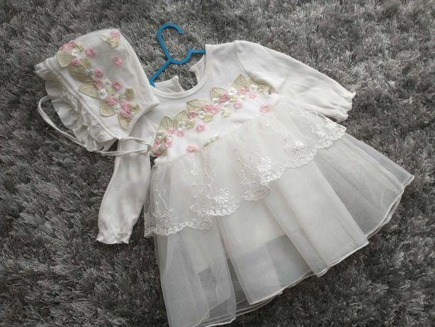 sukienka czapeczka buciki chrzest 68/ 74 dziewczynka komplet