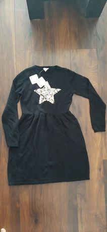 Nowa sukienka czarna z metką z grubego materiału bawełna 10-12 lat L