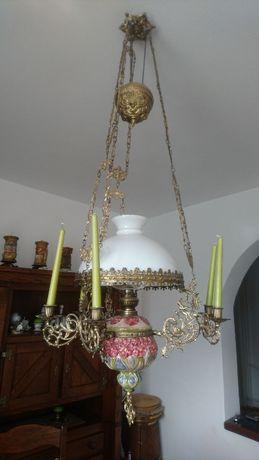 Lampa naftowa wisząca świecznik antyk