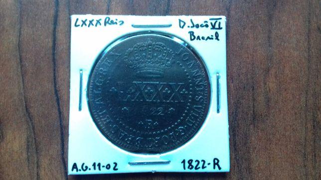 Moeda LXXX Reis 1822 D. João VI - Brasil
