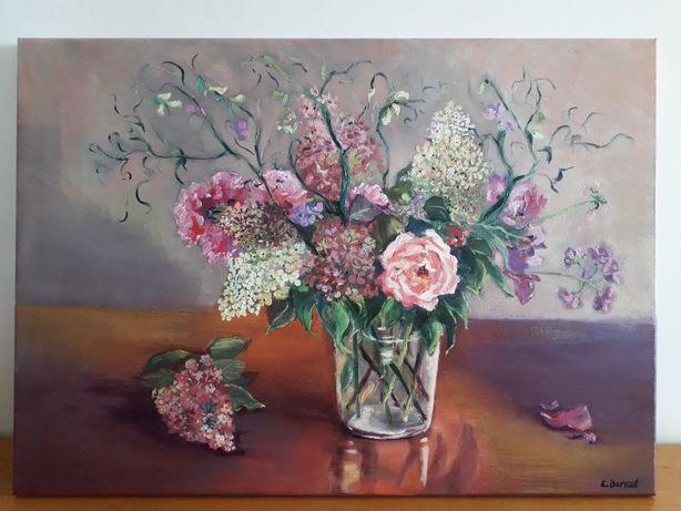 """Obraz olejny ,,Hortensje, róże i groszki"""""""