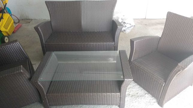 Komplet Ratan fotele kanapa lawa stelaz metalowy masywne