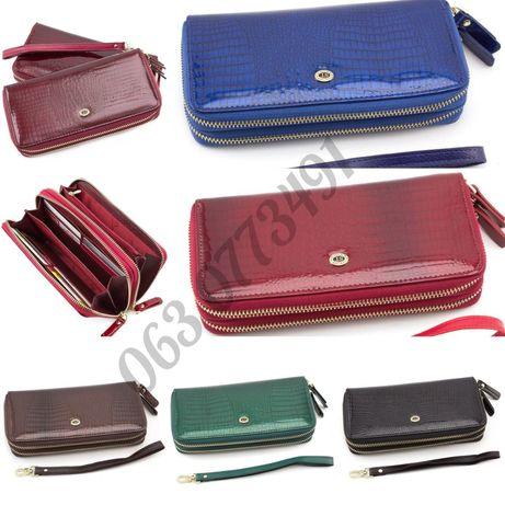 Женский лаковый кожаный кошелек клатч на две молнии ST Leather