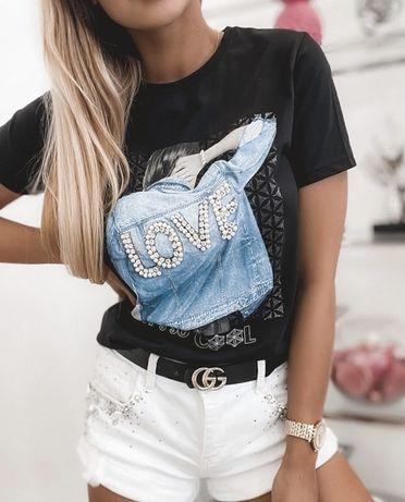 T-shirt bluzka czarna Love kurtka cyrkonie cekiny Mint S M L