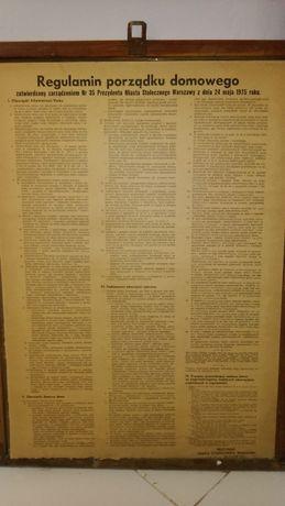 Stara tablica Regulamin porządku domowego m.st.Warszawy