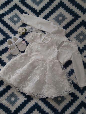 Komplet sukienka chrzest roczek elegancka