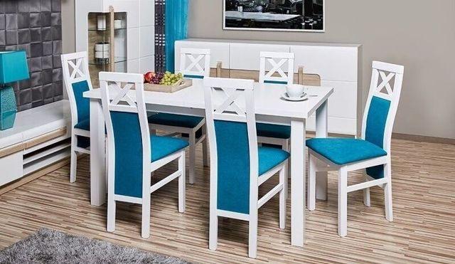 Biały Zestaw Fabio (stół rozkładany + 6 krzeseł) NAJNIŻSZE CENY!