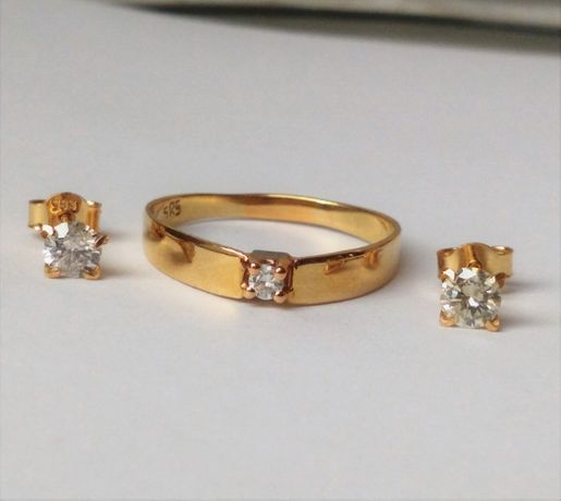 Komplet kolczyki z brylantami i pierścionek złoto 585