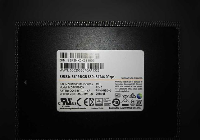 SSD Samsung SM863 960Gb MLC новый серверный высоконадежный Enterprise