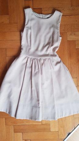 Elegankca rozkloszowana beżowa sukienka Zara XS