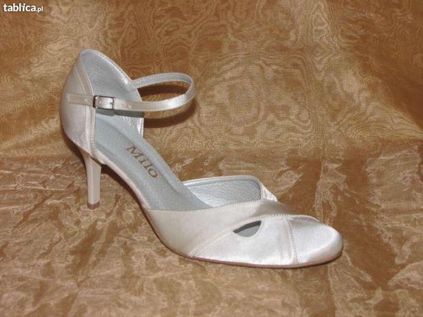 OKAZJA NOWE buty ślubne białe i ekri satyna roz. 38, 39