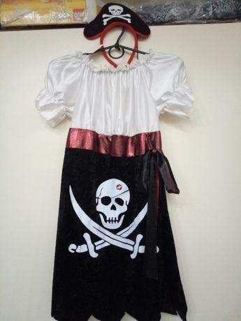 Карнавальный костюм пиратки с обручем на рост до 140 см,