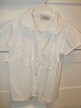 Bluzka biała, r. 98/104, Aquamarine, wizytowa, rozpinana, koszulowa