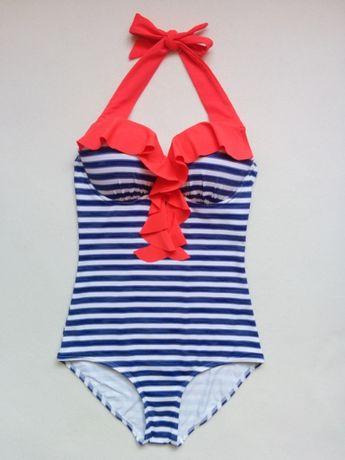 NOWY jednoczęściowy kostium kąpielowy z FALBANKĄ