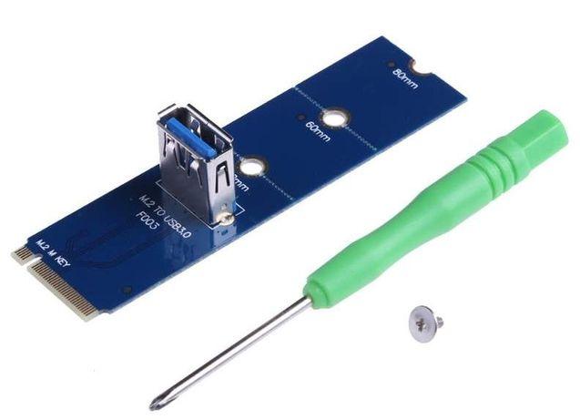 Райзер M2 переходник синий->USB3.0 под райзер M.2 PCI-E м2 адаптер ОПТ