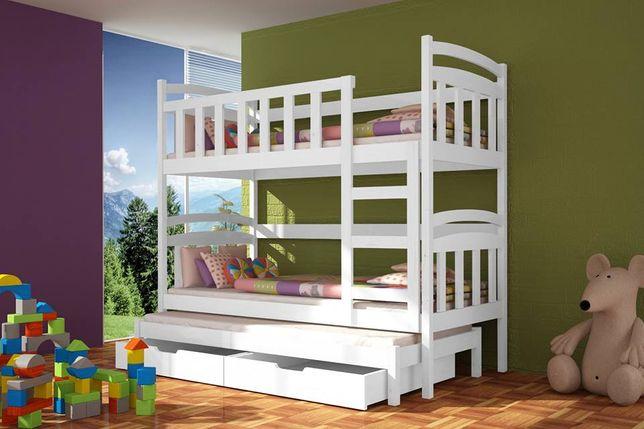Łóżko drewniane dziecięce piętrowe Daniel, 3 os szuflady + materace