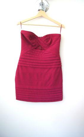 missguided bordowa ciemnoczerwona burgundowa bandażowa sukienka 38 40L