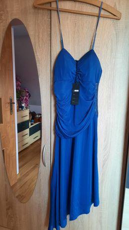 Sukienka S  36 nowa niebieska chabrowa