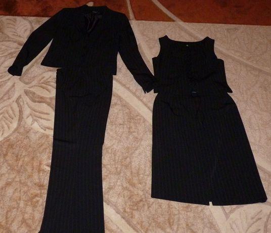 Kostium czteroczęściowy marynarka, spodnie, spódnica, kamizelka 42/44