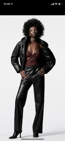 Zara куртка, пуффер, кожа