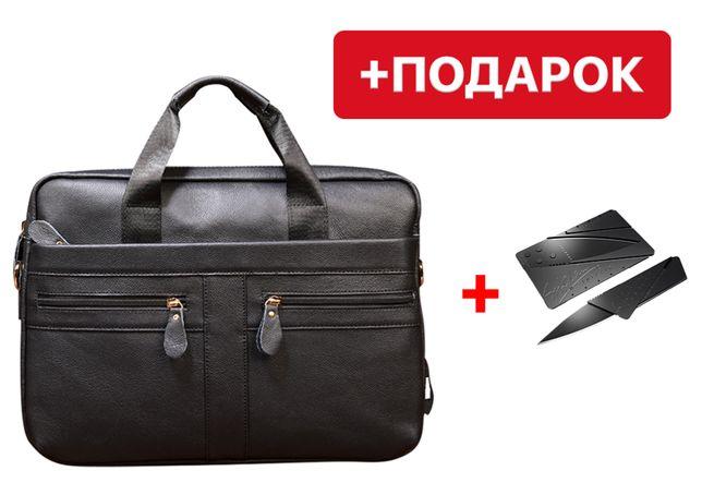 Мужская черная сумка через плечо Westal Alfa A4 из натуральной кожи
