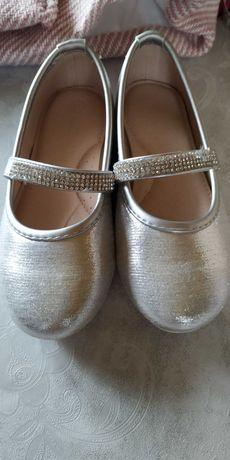 Śliczne srebrne baleriny dla dziewczynki. Nowe