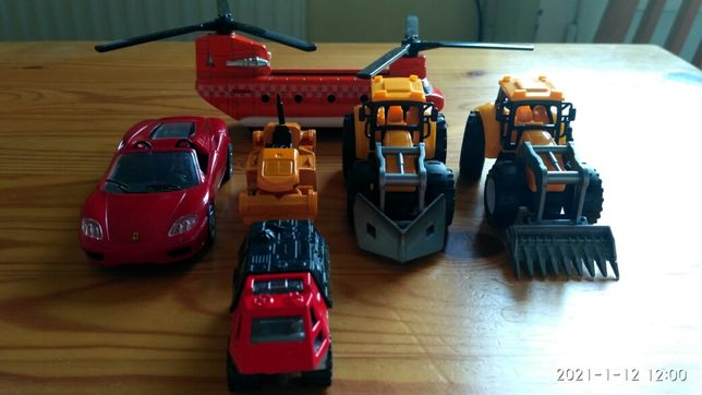 Autka budowlane, ferrari, helikopter