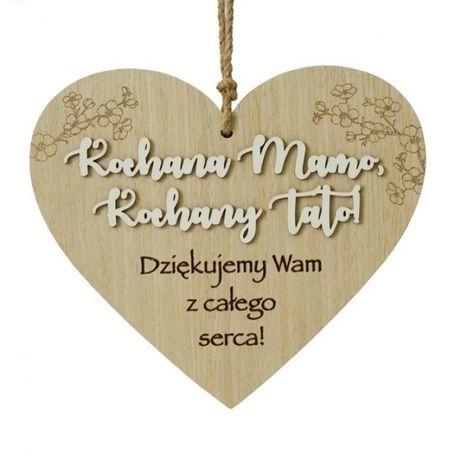 Tabliczka w kształcie serca z sentencją podziękowania dla rodziców hit