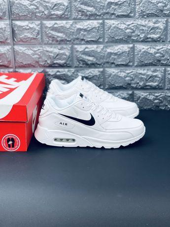 Шкіряні кросівки Найк Аір макс. Всі розміри Nike Air Max 90 білі кроси