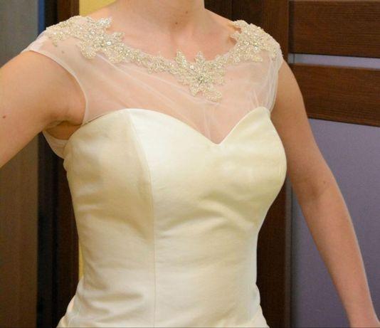 Suknia ślubna z bolerkiem , mikado, cena do negocjacji