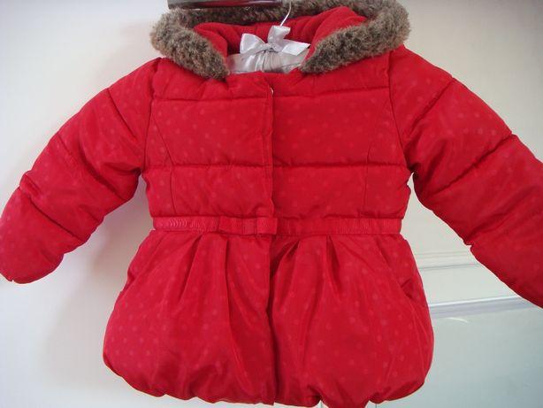 długa kurtka z kokardką / płaszczyk na polarze roz.86 - jak nowa