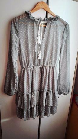 Śliczna szara sukienka długi rękaw S/M