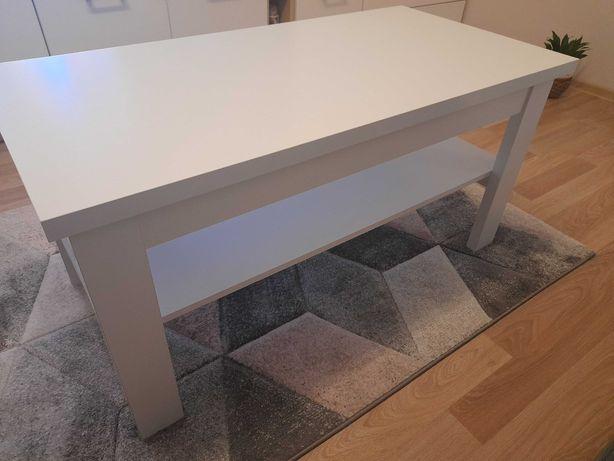 Stolik prostokątny z półką biały