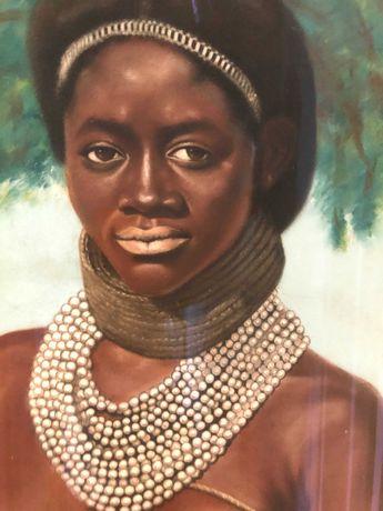 Pintura mulher angola - pastel
