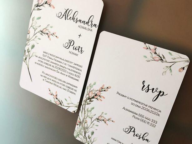 Zaproszenia ślubne zaokrąglone - Pastelowy Krzew
