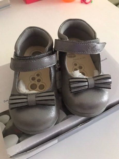 Нарядные туфли Chicco на девочку,21 размер, серебристо серые