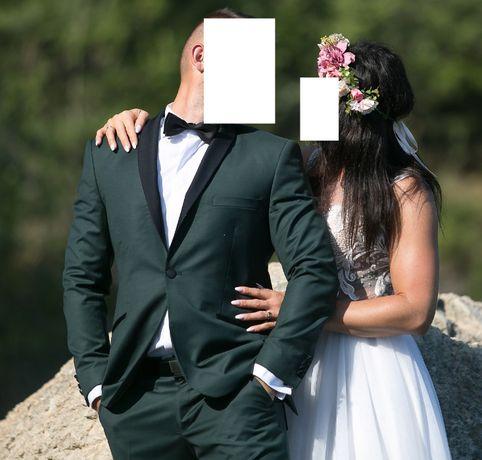 Elegancki garnitur butelkowa zieleń S / 173 cm ubrany raz