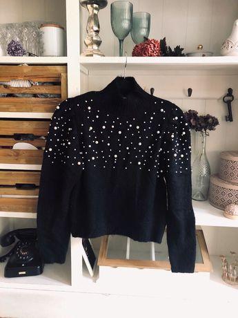 Zara czarny sweter z perłami krótki półgolf nowy S