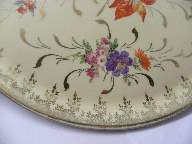 Тарелка блюдо фарфоровая цветы винтаж Франция печать