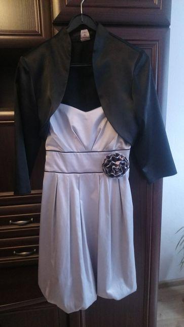 Sukienka bombka roz.L z czarnym bolerkiem roz.36