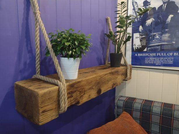 Rustykalna półka belka wisząca loft