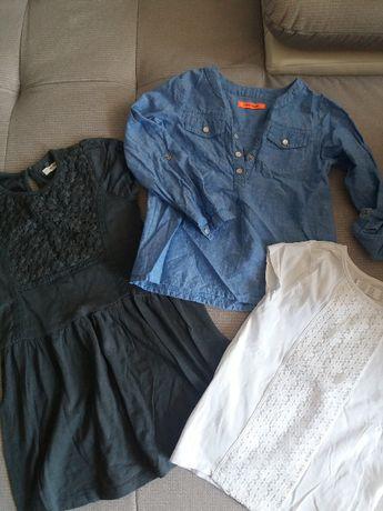 zestaw 3szt. CoolClub Smyk - koszula, sukienka, bluzka roz. 110