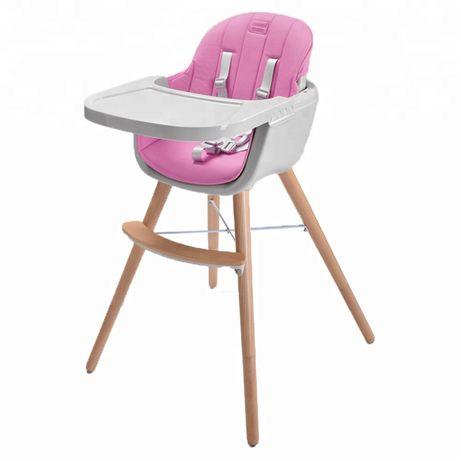 Стульчик для кормления деревянный 2 в 1 Wooden Highchair Розовый