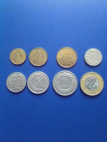 Комплект монет злотые , гроши 8 штук, цена за все