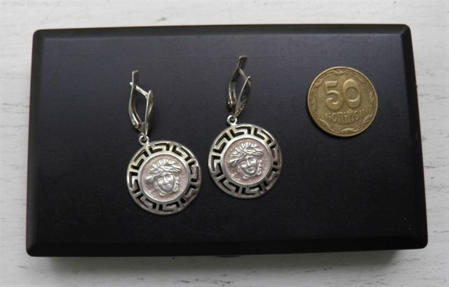 Крупные серебряные серьги-Солнце, с подвесками