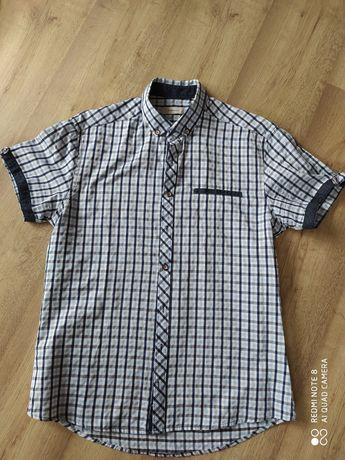 koszula krata męska krótki rękaw rozmiar L
